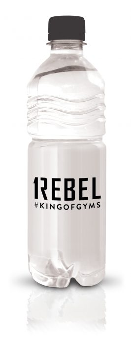 Rebel branded bottled water